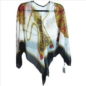 White Navy Blue Red Gold  Silky Poncho  NWT